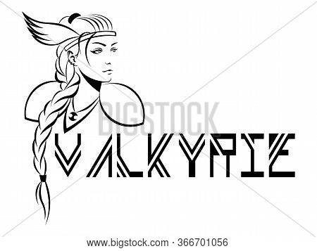 Scandinavian Mythological Character Woman-warrior Valkyrie In Winged Helmet