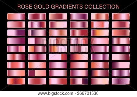 Rose Gold Glossy Gradient, Metal Foil Texture. Color Swatch Set. Collection Of High Quality Vector G