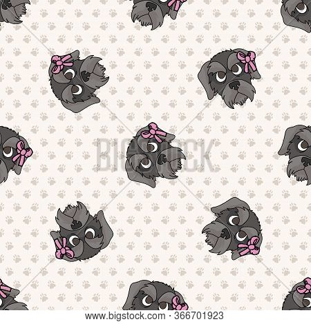 Hand Drawn Cute Schnauzer Breed Puppy Face With Pink Bow Seamless Vector Pattern. Purebred Pedigree