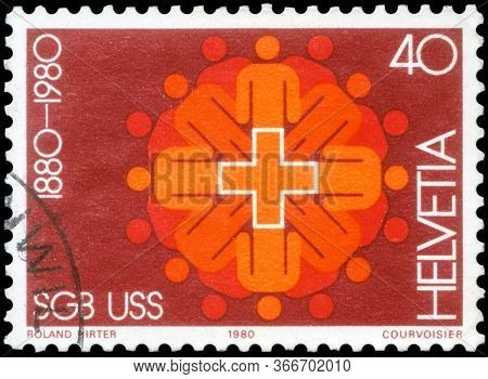 Saint Petersburg, Russia - May 05, 2020: Postage Stamp Issued In The Switzerland Dedicated To The Sw