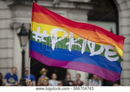 Rainbow Gay Pride Flags At An Lgbt Gay Pride Solidarity Parade