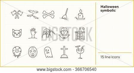 Halloween Symbolic Icons. Bat, Ghost, Crossed Bones. Halloween Concept. Vector Illustration Can Be U