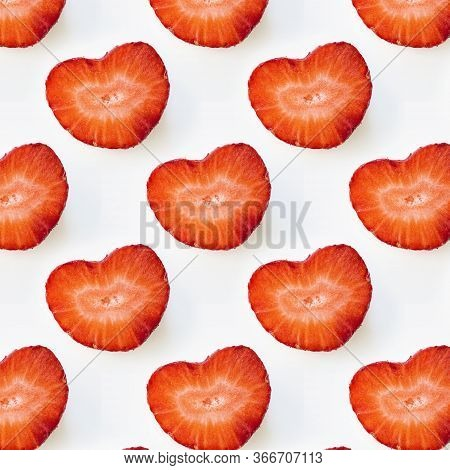 Photographic Collage, Seamless Pattern With Isolated Heart Shape Red Strawberry Cut In Half On A Whi