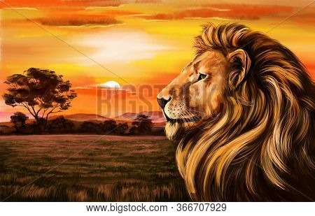 Animal Lion Against The Background Of Dawn, King Of Beasts, Art Illustration Painted With Watercolor