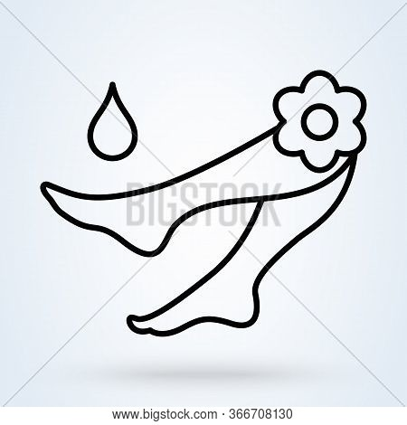 Pedicure Spa Female Feet In Spa Bowl With Water Flowers. Vector Illustration