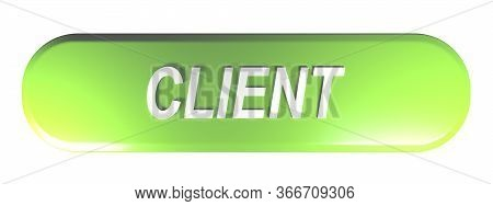 Client Green Rounded Rectangle Pushbutton - 3d Rendering Illustration
