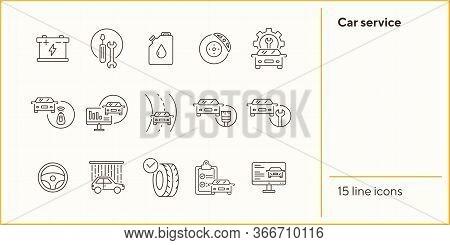 Car Service Line Icons. Set Of Line Icons. Accumulator, Tools, Car Shower. Car Repair Concept. Vecto
