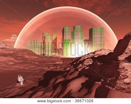 Domed city in inhospitable planet perhaps mars poster