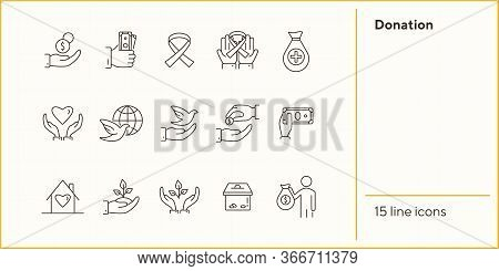 Donation Icons. Line Icons Collection On White Background. Awareness Ribbon, Benefactor, Dove Of Pea