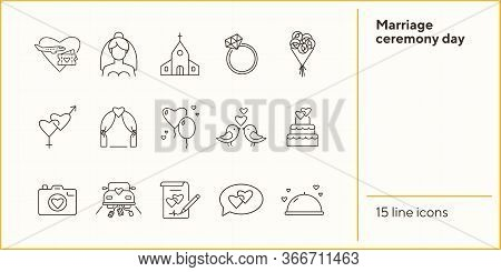 Marriage Ceremony Day Icons. Set Of Line Icons. Wedding Invitation, Suitcase, Church. Wedding Concep