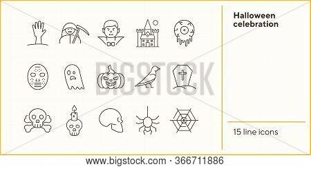 Halloween Celebration Line Icons. Grim Reaper, Ghost, Pumpkin. Halloween Concept. Vector Illustratio