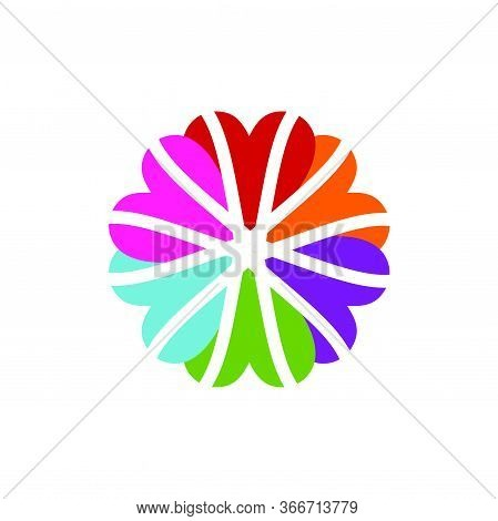 Colorful Flower Heart Love Team Mate Circle Logo And Vector Icon