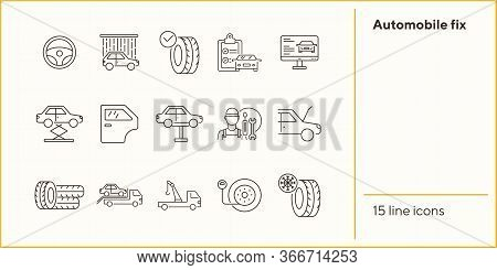 Automobile Fix Line Icons. Set Of Line Icons. Wheel, Winter Tyre, Tools. Car Repair Concept. Vector