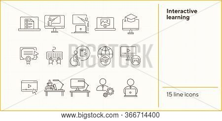 Interactive Learning Line Icon Set. Course, College, Degree. Online Lesson Concept. Can Be Used For
