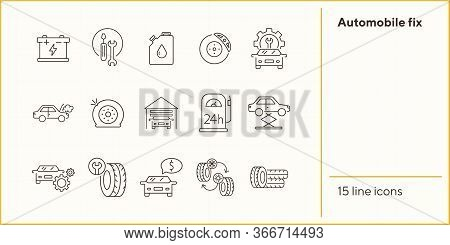 Automobile Fix Icons. Set Of Line Icons. Petrol Station, Changing Tyres, Accumulator. Car Repair Con
