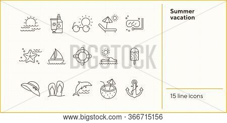 Summer Vacation Line Icon Set. Beach Chair, Ice Cream, Sailing. Beach Concept. Can Be Used For Topic