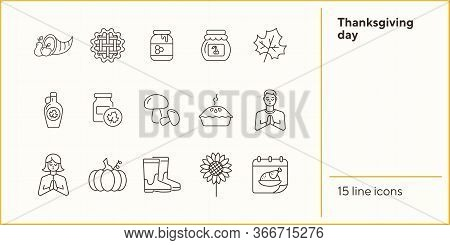 Thanksgiving Day Line Icon Set With Praying People And Calendar. Maple Syrup, Cornucopia, Pie, Jam,