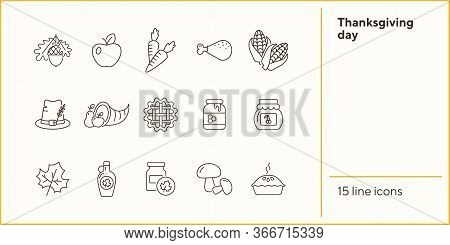 Thanksgiving Day Line Icon Set With Cornucopia. Pie, Maize, Fruits, Vegetables. Thanksgiving Concept