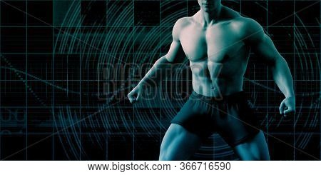 Muscular Physique of a Man as Concept 3D Render