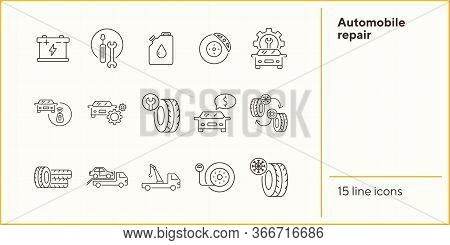 Automobile Repair Icons. Set Of Line Icons. Oil, Alarm, Changing Tyres. Car Repair Concept. Vector I