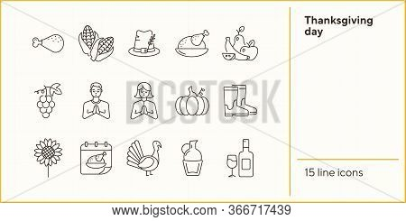 Thanksgiving Day Line Icon Set With Turkey And Pumpkin. Grape, Maize, Hat, Vegetables. Thanksgiving