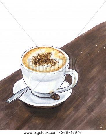Latte Art Vintage Hand Drawn Sketch With Brawn Background
