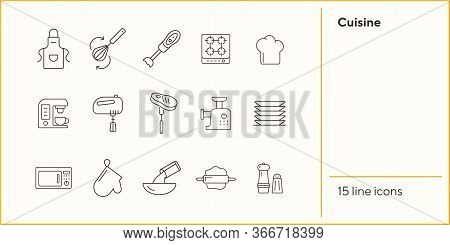 Cuisine Line Icons. Set Of Line Icons. Pinafore, Microwave Oven, Blender. Culinary Concept. Vector I
