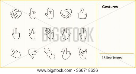 Gestures Line Icon Set. Gesturing Isolated Sign Pack. Gestures Concept. Vector Illustration Symbol E