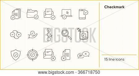 Checkmark Line Icons. Set Of Line Icons. Letter With Checkmark, Approved Documents. Approval Concept
