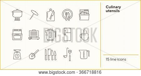 Culinary Utensils Icons. Set Of Line Icons. Corkscrew, Dishwasher, Set Of Knives. Culinary Concept.