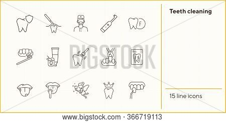 Teeth Cleaning Line Icon Set. Doctor, Brush, Toothpaste, Fairy. Dental Care Concept. Can Be Used For