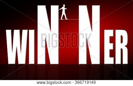 Man Walking On Tight Rope On The Winner Word, 3d Rendering