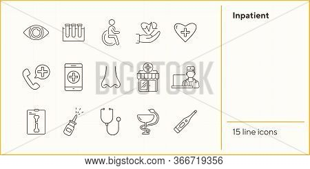 Inpatient Icons. Set Of Line Icons. Disabled Person, Test Tubes, Heart With Cross. Medical Aid Conce