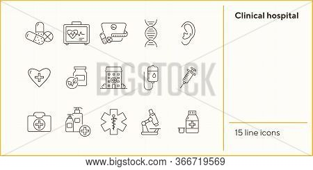 Clinical Hospital Icons. Set Of Line Icons. Medical Kit, Dieting Pills, Infusion. Hospital Care Conc