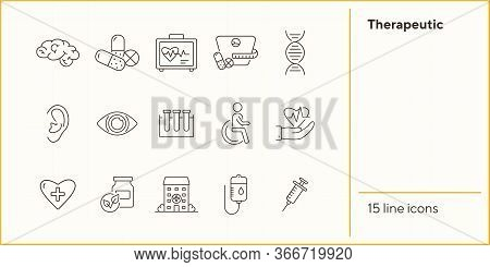 Therapeutic Icons. Set Of Line Icons. Laboratory Research, Heart In Hand, Injection. Medical Exam Co