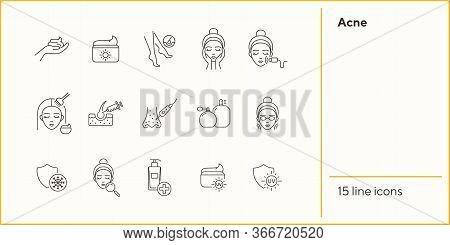 Acne Line Icon Set. Female Face, Massage, Peeling, Cream. Skin Care Concept. Can Be Used For Topics