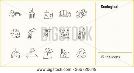 Ecological Icons. Set Of Line Icons. Air Pollution, Planet Contamination, Impact. Environment Concep