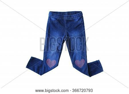 Blue Jeans Isolated Over White Background. Small Denim Child Clothes.