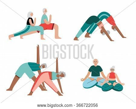 Set Of Happy Couples Of Seniors Performs Yoga Exercises At Home. Old Or Mature Male And Female Carto