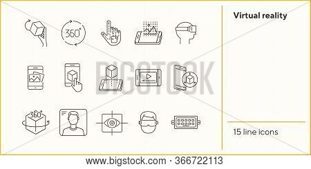 Virtual Reality Icons. Man In Vr Glasses, Robotic Hand, 3d Modeling. Virtual Reality Concept. Vector