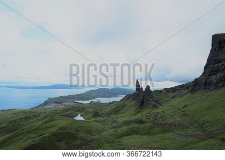Beautiful Landscape Of The Old Man Of Storr, Isle Of Skye In Scotland Highlands