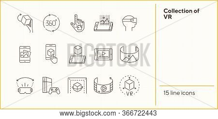 Collection Of Vr Icons. 360 Degrees, Robotic Hand, Man In Vr Glasses. Virtual Reality Concept. Vecto