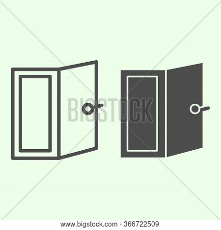 Door Line And Solid Icon. Open Home Doorway Exit Or Entrance Outline Style Pictogram On White Backgr