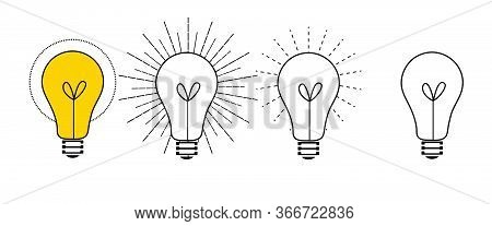 Incandescent Light Bulb Lamp, Turn On And Turn Off Light, Vector Image