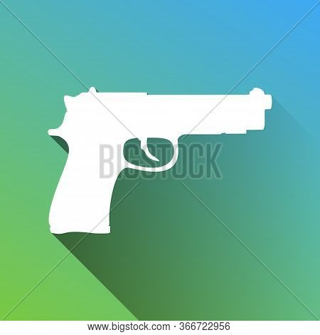 Gun Sign Illustration. White Icon With Gray Dropped Limitless Shadow On Green To Blue Background. Il