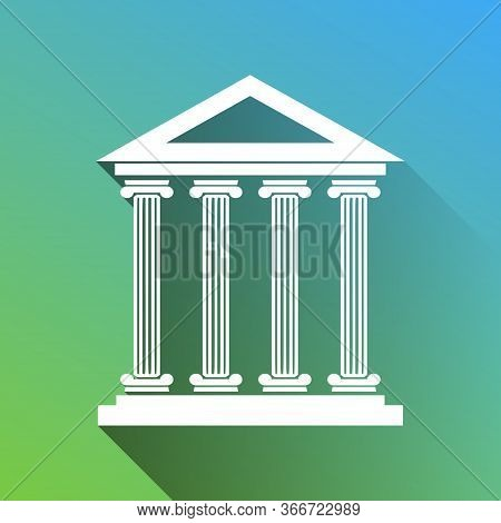 Historical Building Illustration. White Icon With Gray Dropped Limitless Shadow On Green To Blue Bac