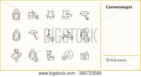 Cosmetologist Line Icon Set. Needles, Injection, Massage, Moistening. Beauty Care Concept. Can Be Us