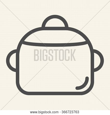 Pan Line Icon. Steel Saucepan Symbol, Outline Style Pictogram On Beige Background. Cooking Pot Sign