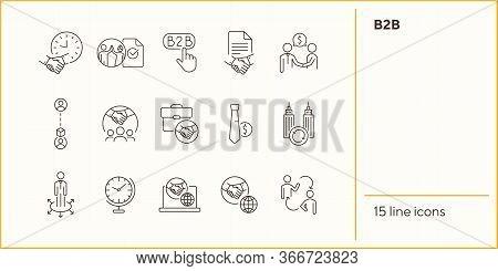 B2b Icons. Set Of Line Icons. Association, Business Partnership, Business Cooperation. Partnership C
