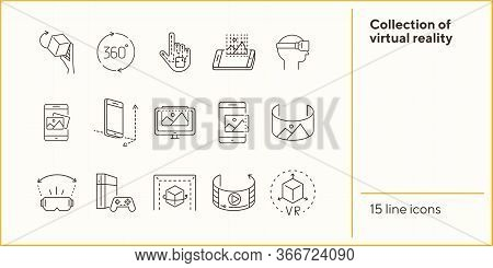 Collection Of Virtual Reality Icons. Cube In Hand, Robotic Hand, 3d Modeling. Virtual Reality Concep